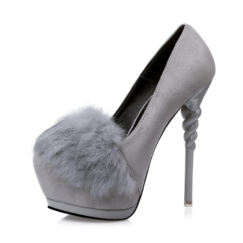 ФОТО Free shipping 2017 Spring Europe new fashion Waterproof fur charm pumps women flock shoes heels 14cm