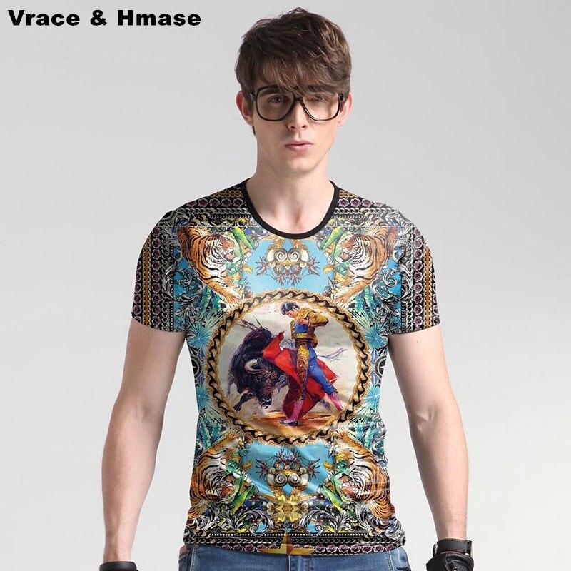 European style Bullfighter tiger pattern digital printing fashion t shirt Summer new arrival quality ice silk t shirt men M-5XL