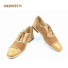 22d54dd4bd9 Gentleman New Arrival Casual Style Patchwork Men Shoes Suede and Leather  Low-Heels Loafer Gold Rivets Handmade Lace-Up Shoes Man