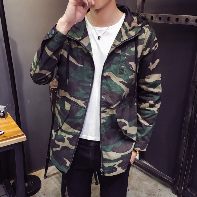 fund of 2018 autumn men jacket dust coat long camouflage the spring and autumn period and the han edition 313 b - F81 - P85
