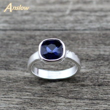Anslow 2019 Brand Trendy New Cute Female Square Crystal Wedding Rings For Couples Lovers Women Engagement Jewelry LOW0008AR