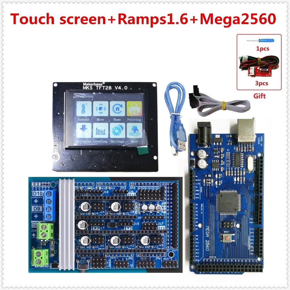Rampes 1.6 R6 carte d'extension + mega 2560 carte mère de contrôle + MKS TFT 28 écran tactile pas cher unité 3d imprimante débutants BRICOLAGE