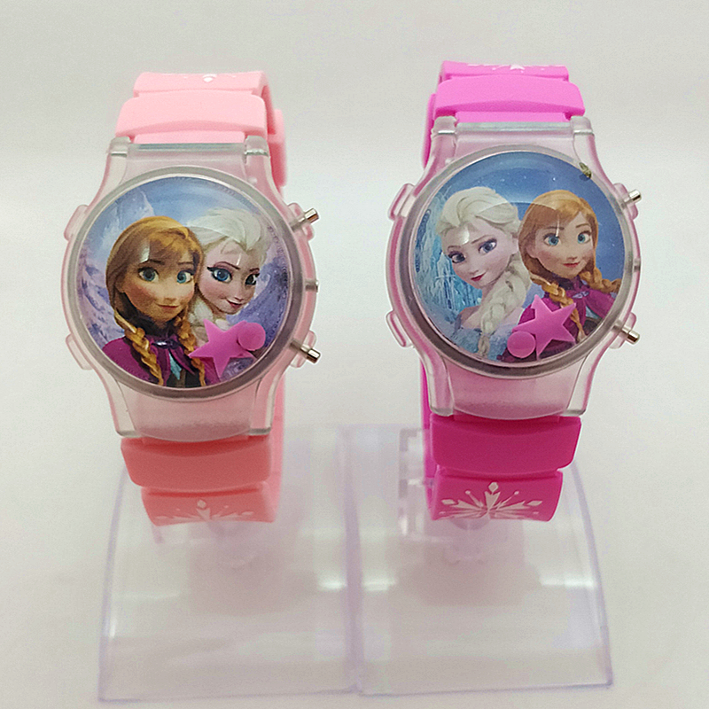2019 Elsa Girl Children's Watch With A Flashing Light On The Frozen Cartoon Frozen Star's Calendar  Girls Watches Kids