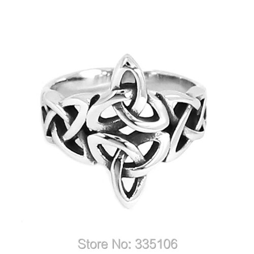 Wholesale Claddagh Irish Patter Biker Ring Stainless Steel Jewelry Silver  Celtic Knot Ring Wedding Ring for Women SWR0637 6b6a3ff42