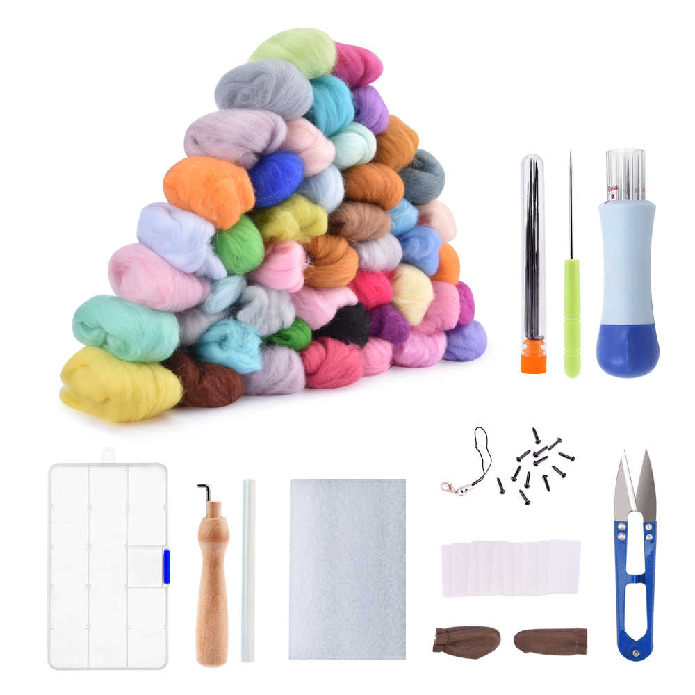 50/36 Color DIY Wool Felt Kit Handle Wool Felting Tools Handmade Felt Needle Set 7pcs Pack Felting Fabric Materials Handcraft