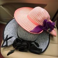 Корейская сторона прокрутки, бантик, ручной работы соломенная шляпа, раза, купола цветок, широкополая шляпа, повседневная складная шляпа от ...