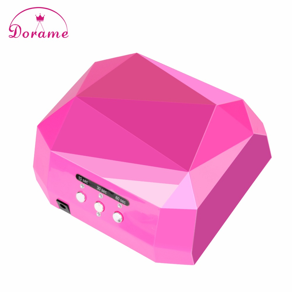Professional Dorame Diamond 36W UV Lamp Nail Dryer Time Settings Nail Gel Curing UV Gel Led Gel Removable bottom plate Nail Arts dorame suns2 60w uv led lamp large space nail dryer double use on feet