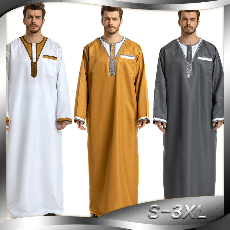 Patchwork Weiß Gelb Grau Mann Islamische Kleidung Pakistan Islamischen Herren Thobe Plus Größe 3XL Saudi arabien Ropa islamica hombre-in Islamische Kleidung aus Neuheiten und Spezialanwendung bei AliExpress - 11.11_Doppel-11Tag der Singles 1