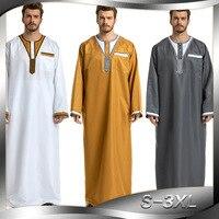 Patchwork White Yellow Gray Man Islamic Clothing Pakistan Islamic Mens Thobe Plus Size 3XL Saudi Arabia Ropa islamica hombre