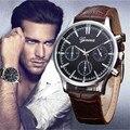 Os homens Assistir relogio masculino Design Retro Homens De Couro Falso Vidro de Quartzo Analógico Relógios Casuais relógio de Pulso Marca Horloges mannen