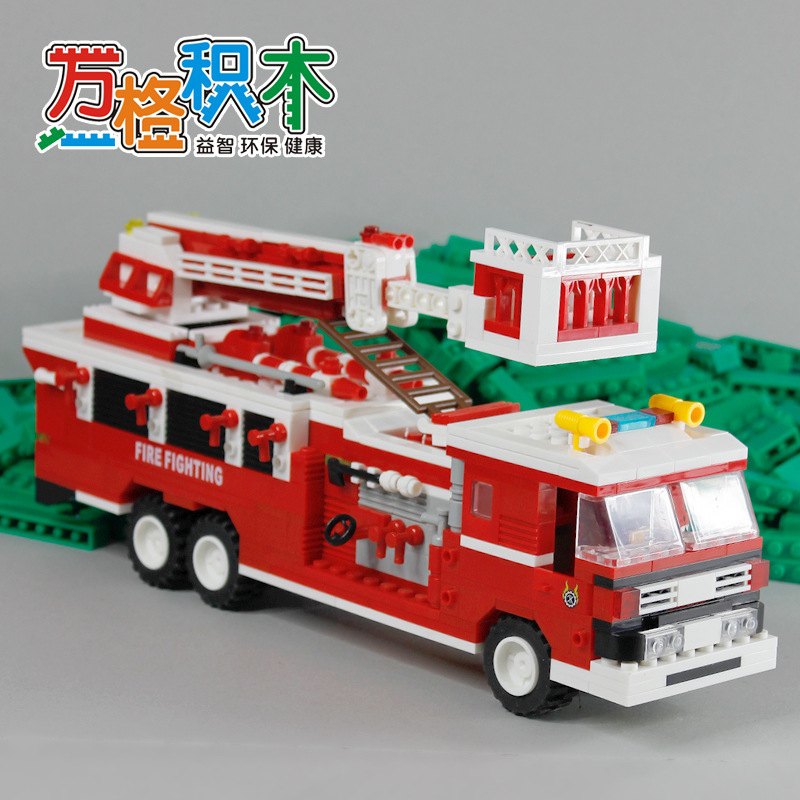 Fun children toy blocks compatible fire truck Legoes fire ladder truck assembly model of children's education toy building block spell insert building blocks fire model plastic environmental protection construction science and education children s education