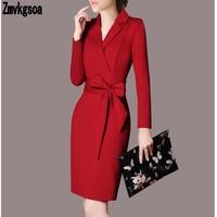 Zmvkgsoa Autumn Winter Office Dress Women 2018 Europe Sexy Stripe Slim Double Breasted Suit Collar Long