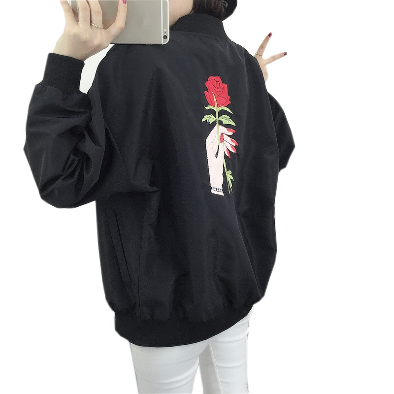 2018 Spring New Harajuku Women Thin Jackets Long Sleeve Bomber Jacket Coat Ladies Loose Rose Floral Embroidered Outerwear S-2XL