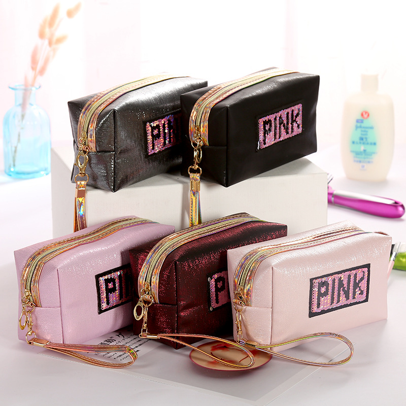 Sequin Pink Cosmetic Bag Laser Travel Organizer Letter Toiletry Bag PU Necessarie Feminina Storage Holographic Makeup Bag