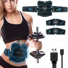 8 adet kablosuz kas stimülatörü eğitmen akıllı spor karın eğitim elektrikli kilo kaybı çıkartmalar vücut zayıflama kemeri Unisex