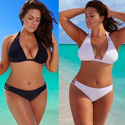 2PCS Swimsuits Plus Size Bikinis Swimwear White Black Sexy Women Large Size Low Waist Bottoms Sets Halter Bandage Beach Wear