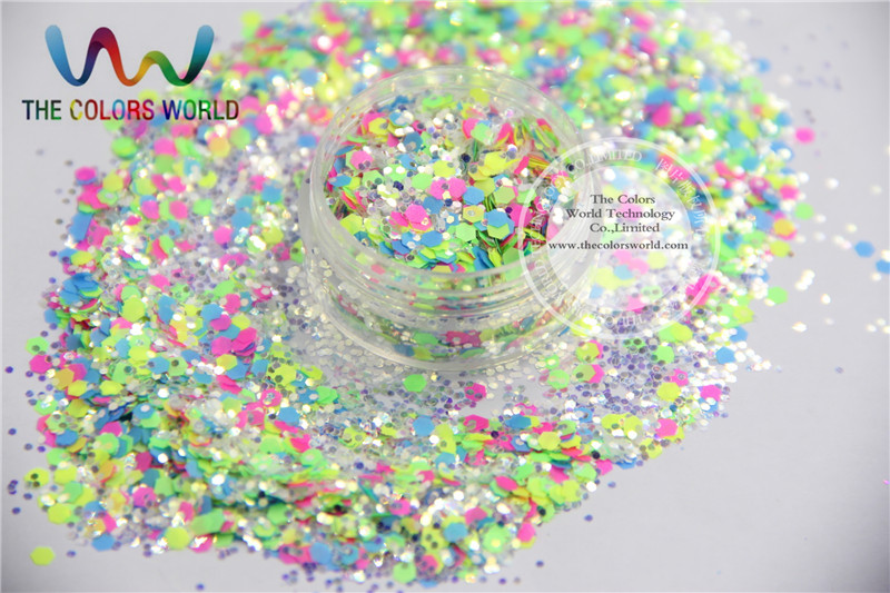 A0104-164 Mix size Iridescent Neon Color Solvent Resistant Glitter  for Nail Polish Acrylic, DIY supplies1pack=50g dn2 39 mix 2 3mm solvent resistant neon diamond shape glitter for nail polish acrylic polish and diy supplies1pack 50g