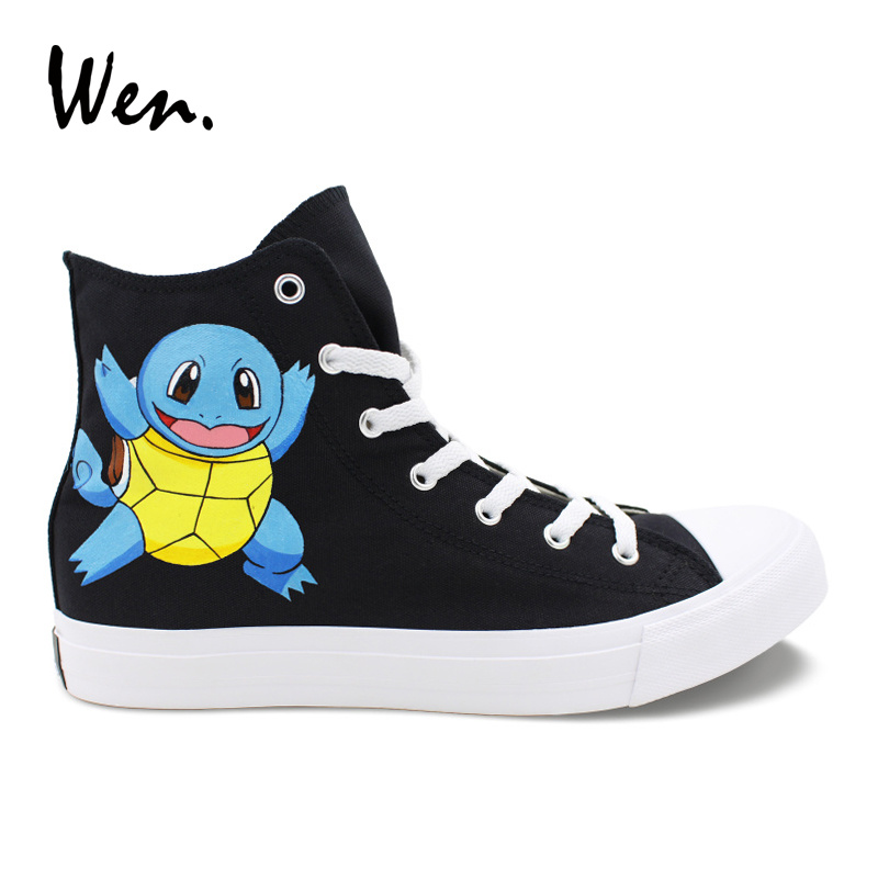 Wen Anime Shoes Custom Design Pokemon Squirtle Hand Painted Canvas Shoes Pocket Monster High Top Black Men Women Flat Sneakers цена