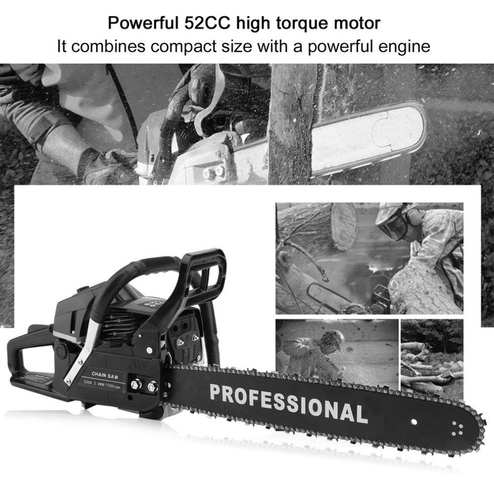 52CC Gasoline Chain Saw Single Cylinder Air Cooled Two Stroke Powerful Professional Wood Cutter Hand Tool Wood Saw LZ520A wood cutter chain saw heavy duty gasoline chainsaw 2 stroke 58cc gas chain saw 3000rpm max 10000 rpm eu plug for garden tool