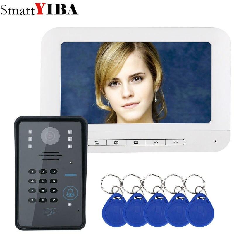 SmartYIBA Video Intercom 7''Inch Monitor Wired Video Door Phone Visual Speakephone Intercom Doorbell Password RFID Camera Kit
