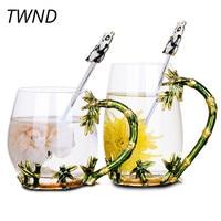 Color enamel glass coffee mugs with spoon flower tea milk cup bamboo handgrip Europe heat resistant drinkware