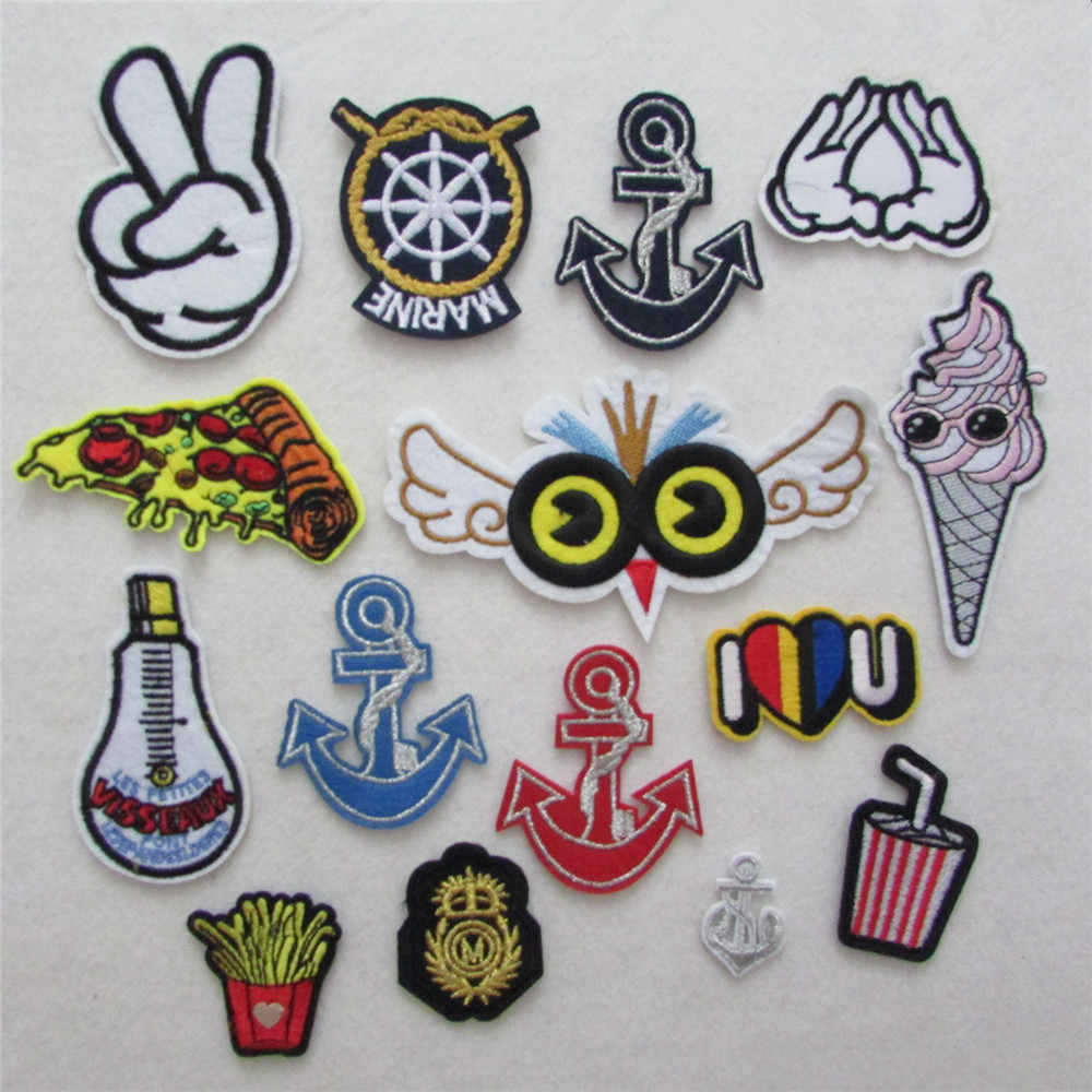 2016 year Hot sales different type cartoon patter hot melt adhesive applique embroidery patches stripes DIY accessory 1pcs sell