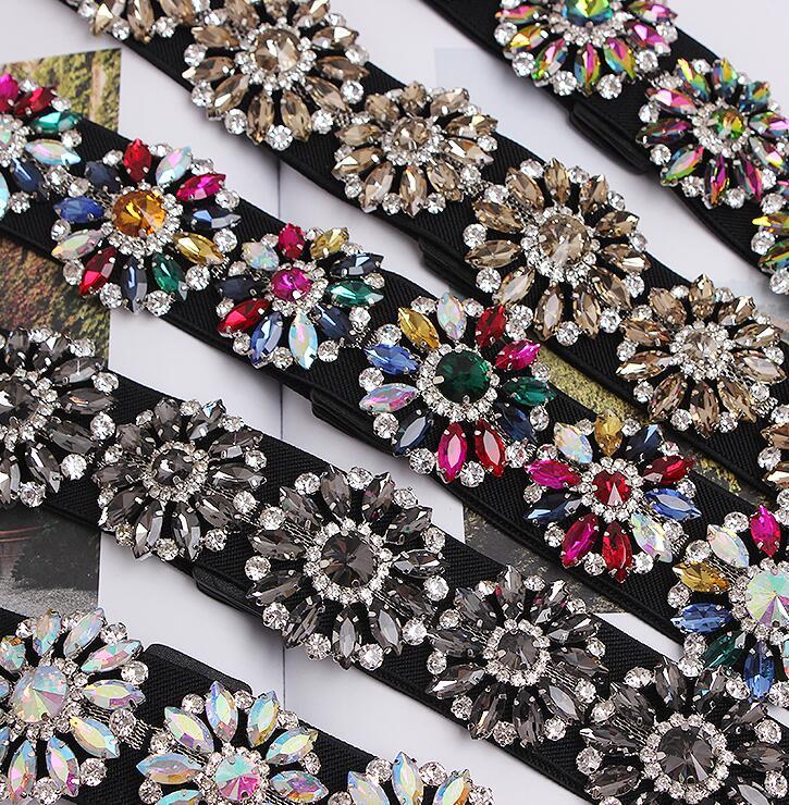 Women's Runway Fashion Diamonds Beaded Elastic Cummerbunds Female Dress Corsets Waistband Belts Decoration Wide Belt R1694