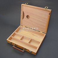 High Qantity Artist Tabletop Wooden Easel Box With Handle Plus A Square Wood Palette Oil Painting