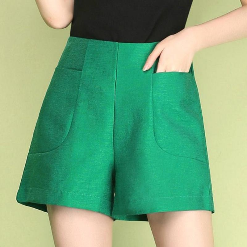 Summer Fall Fashion Korean Elegant Women Lady High Waisted Green White Wide Leg Shorts , Autumn Female Woman 3xl Black Shorts