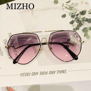 Image 5 - MIZHO براون الفاخرة العلامة التجارية المعادن النظارات الشمسية النساء الطيار موضة حجر الراين قطع التدرج رمادي Vintage نظارات شمسية السيدات العصرية