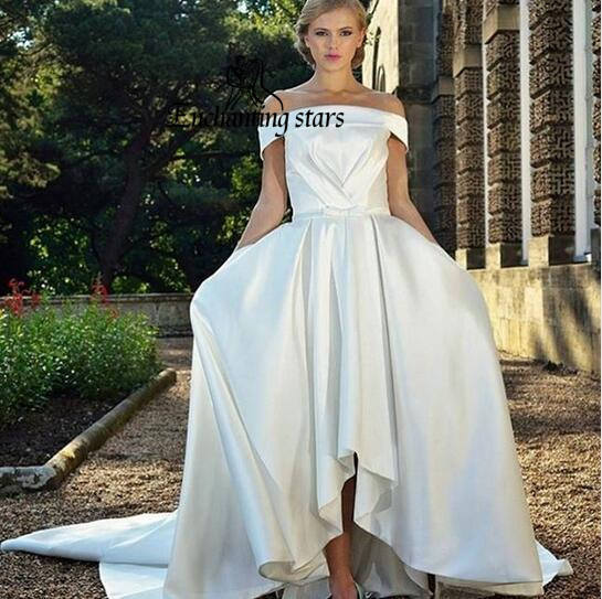 Simple Wedding Dresses Vogue: 2017 Simple Boat Neck Wedding Dresses High Low High