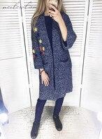 Nerlerolian 2017 Womne Knitted Cardigan Sweaters Kimono Pockets Casual Loose Female Warm Long Sleeve Sweaters NRY9125