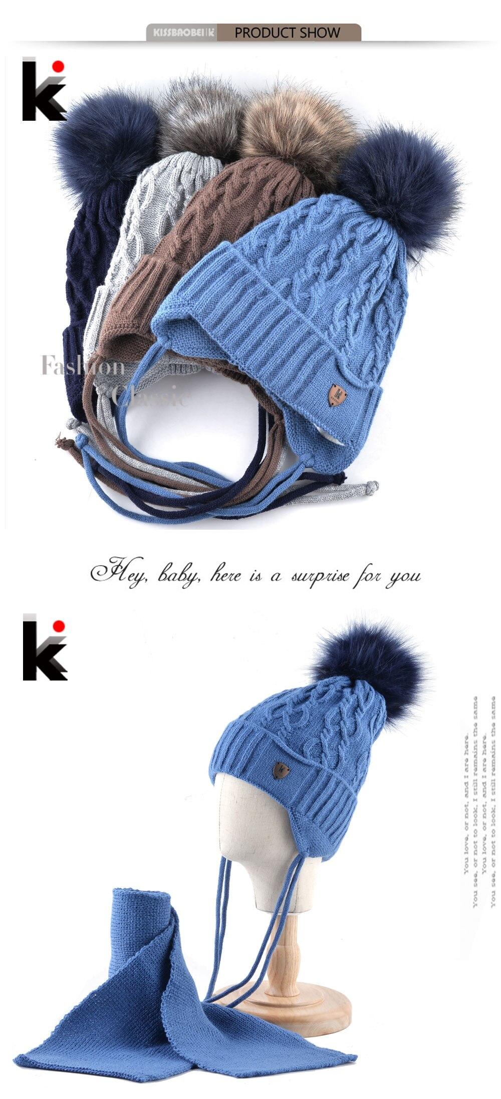 K marca sombreros de invierno bufanda para los niños caliente gorros ...