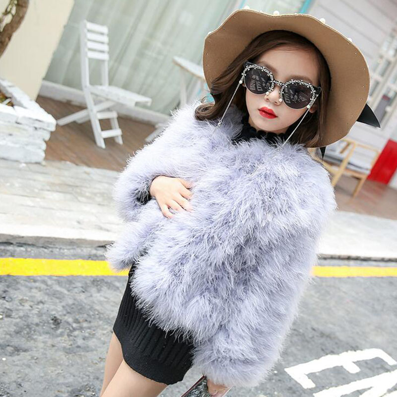2017 Autumn And Winter New Ostrich Feather Chicken Feather Girl Princess Fur Western Style Child Imitation Fur Baby Short Jacket все цены
