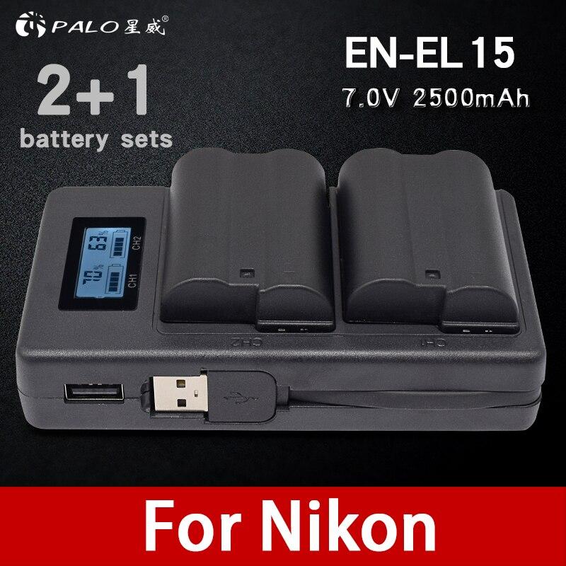 Palo 2 pcs EN-EL15 ENEL15 EN EL15 Batterie + LCD Double USB Chargeur Pour Nikon DSLR D600 D610 D800 D800E d810 D7000 D7100 D7200 V1