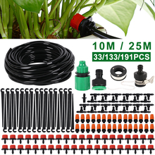 10M/25M DIY Drip Irrigation System Automatic Watering Garden Hose Micro Drip Garden Watering Kits with Adjustable Drippers