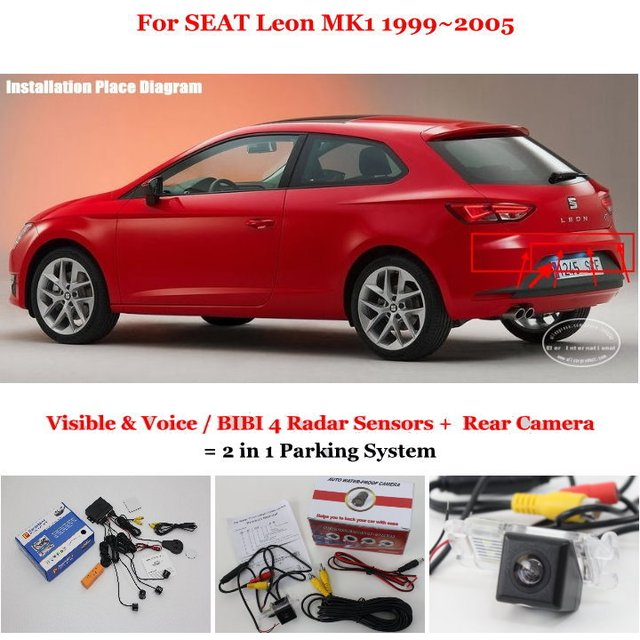 Car Parking Sensors + Rear View Back Up Camera = 2 in 1 / BIBI Alarm Parking System For SEAT Leon MK1 1999~2005