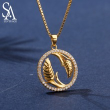 Real 925 Sterling Silver Yellow Gold Color Pendant Necklaces Woman Zirconia Necklace Choker Pendants Women