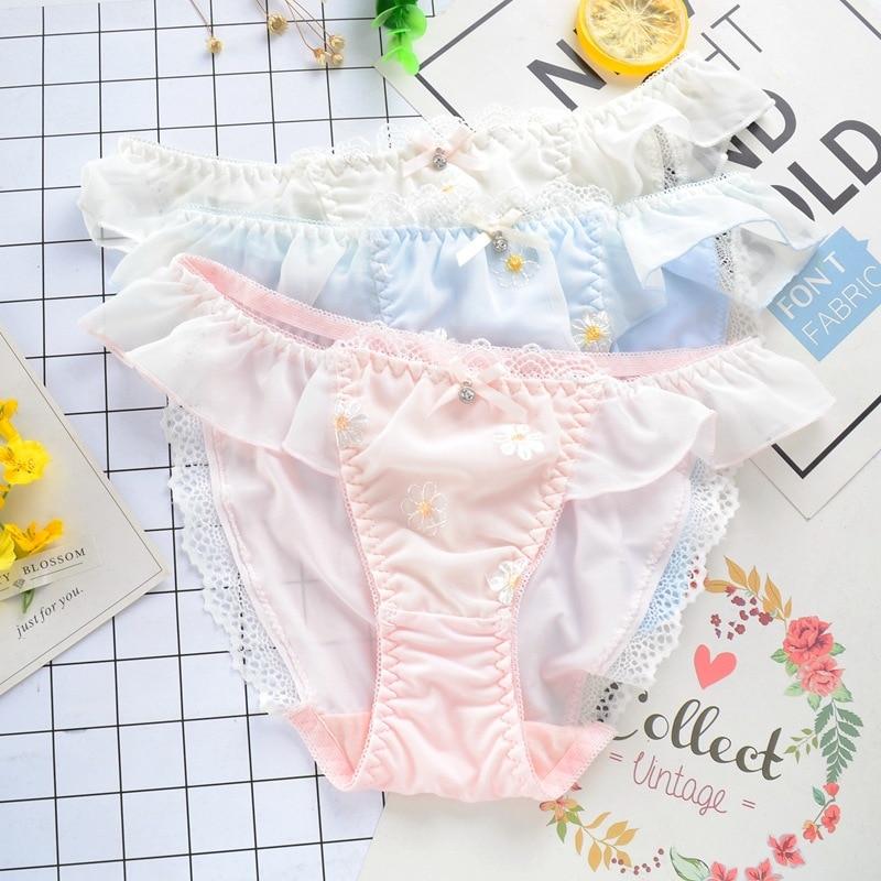 Milk Silk Flower Embroidery Cute Lovely Sweety Women   Panties   Lace Bow Soft Lady Underwear Middle Waist Ruffle Knickers Breifs