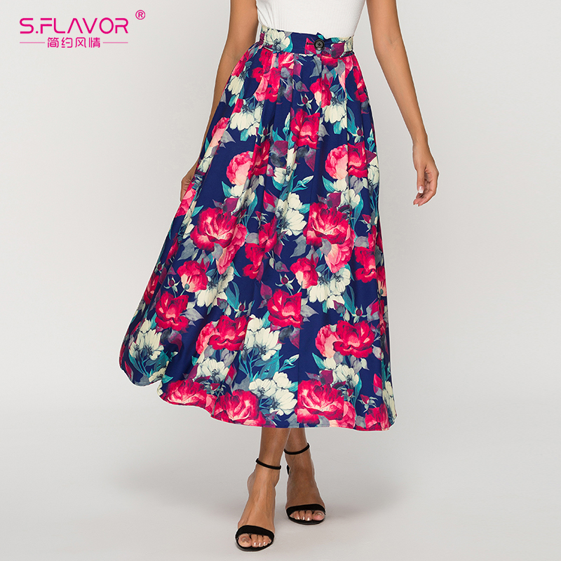 S.FLAVOR Mid Waist Floral Printed Autumn Skirts 2019 New Arrival Single Button Long Skirts For Female Bohemian Skirts