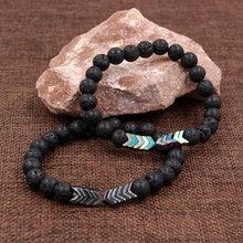 Черный камень лавы треугольный гематит бусы браслеты браслет