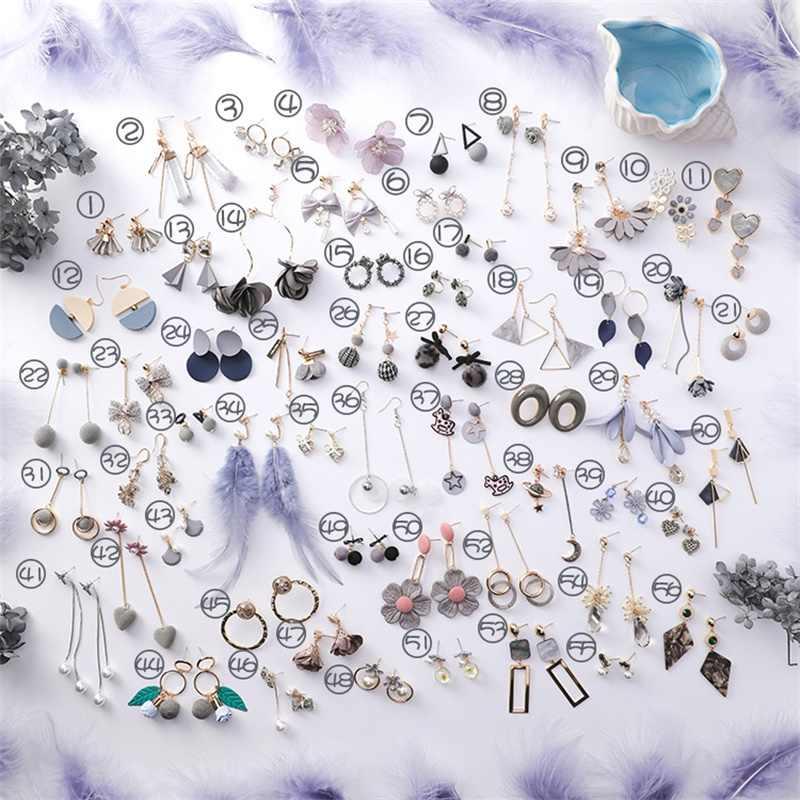 2019 Korean Fashion Sen Flower Earrings Simulation Pearl Long Tassel Handmade Jewelry Vintage Gray Ladies Earrings Women's gifts