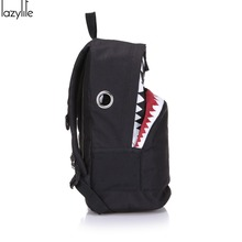 LAZYLIFE Cute Backpack For Teenage Girls School Backpack Big Shark Canvas Backpack