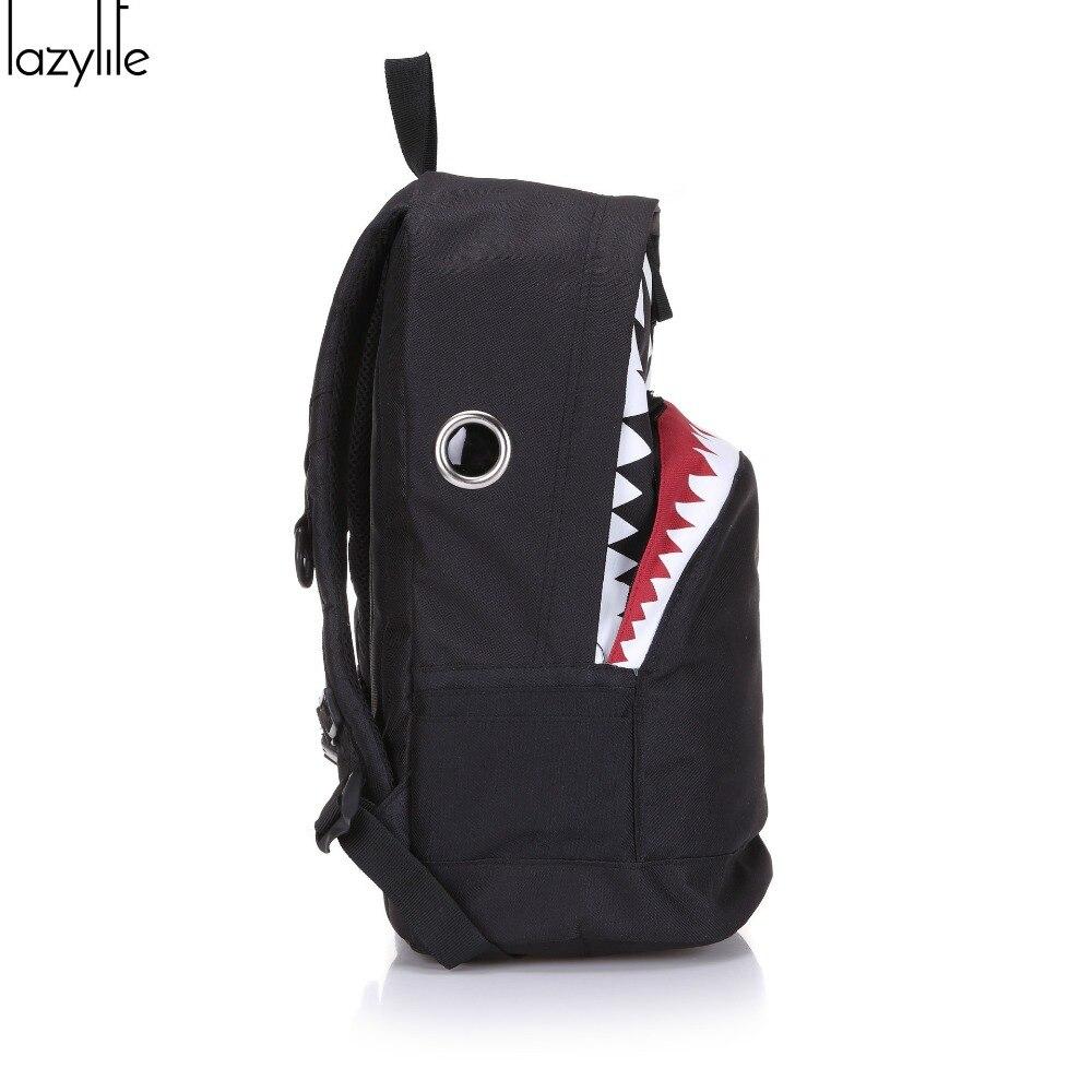 LAZYLIFE Cute Backpack For Teenage Girls School Backpack Big Shark Canvas Backpack