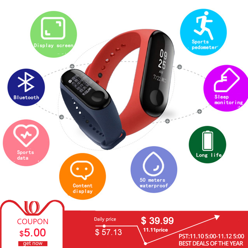 цена на Xiaomi Mi Band 3 Band 3 Smart Wristband IN STOCK 2018 New Original Xiaomi Mi Band 3 Smart Bracelet, 0.78 inch OLED Message
