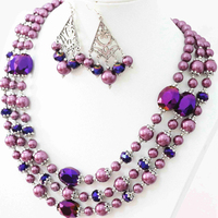 Orignal design romantic purple earrings necklace 3rows round shell crystal beads for women elegant jewelry set 18-22inch B998