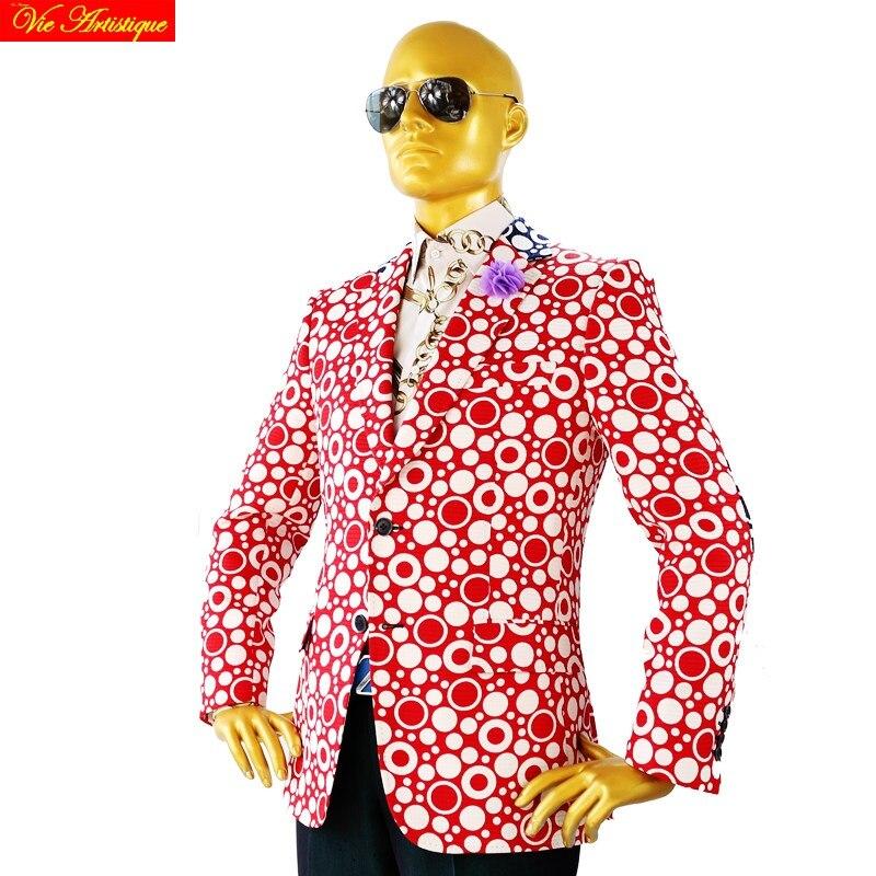 Custom Tailor Made Men's Bespoke Suits Business Designer Wedding Bespoke 2 Piece Suit(Jacket+Pants) Red Polka Dot Cotton Slim 19