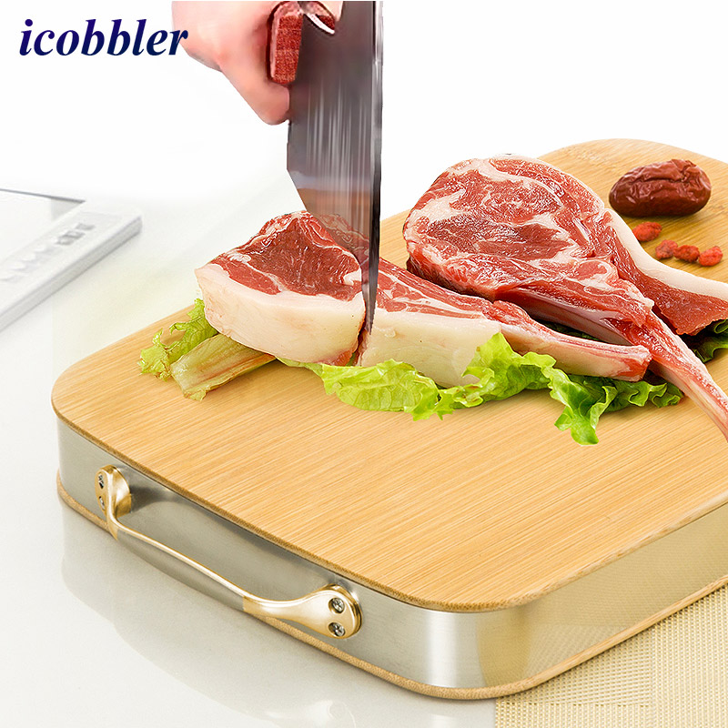 Extra Large Bamboo <font><b>Chopping</b></font> Board Butcher Block Thick Strong Cutting Vegetables Cut Chopped Bone Board Metal Binding with Handle