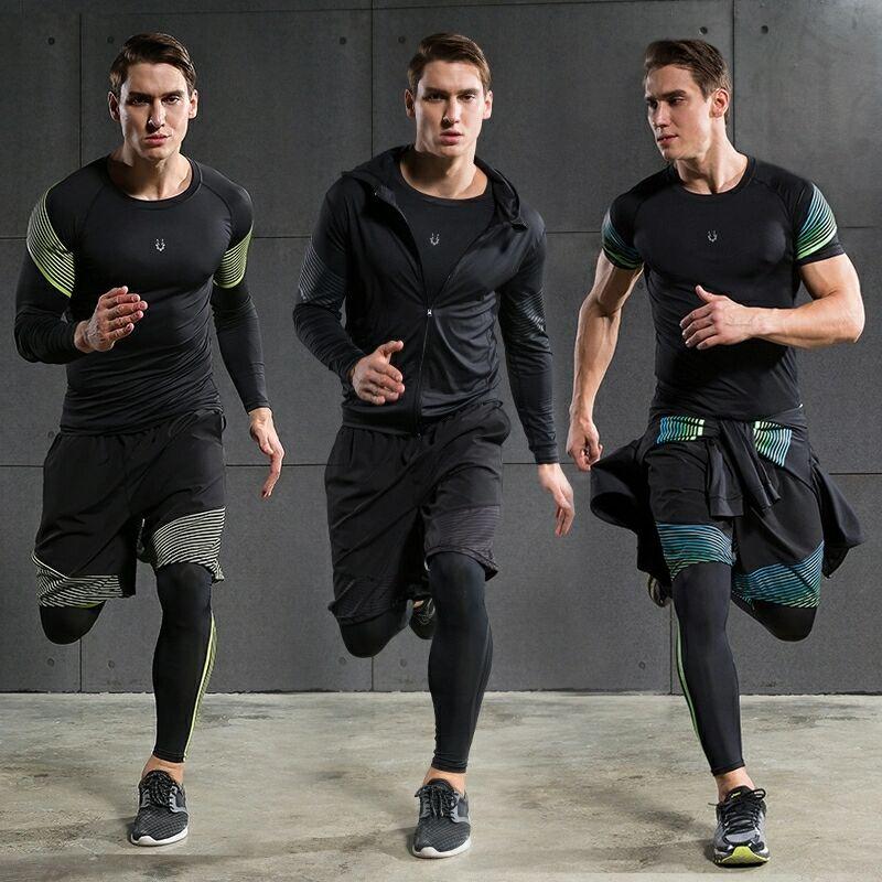 Hot mannen Running Sets 4 stks/set Compressie Sneldrogende Sport Suits Basketbal Panty Workout Gym Fitness Kits Jogging Sportkleding - 2