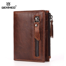 GENMEO New Genuine Leather Wallet Men Hot Sale Cow Leather Purse with Card Holders Men Clutch Bag with Zipper Coin Purse Bolsa fabenson 2017 new arrving cow leather coin purse card wallet for men sale fashion pouch monederos mujer monedas free shipping
